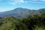Looking north from Trabuco Canyon trail, towards Santiago peak and the top of Holy Jim.
